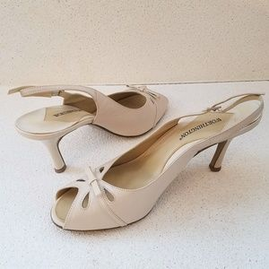 WORTHINGTON Cream Colored Strapped Leather Heels